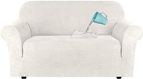 LINGKY Universal High Stretch Samt Plüsch Sofabezug, Wasserabweisende Möbelschutz Wildleder Couchbezüge, Samt Wildleder Plüsch Elastischer Stoff Sofabezug (Ivory,2 Sitzer(122-172 cm))