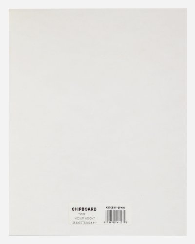 Grafix 8-1/2-Inch by 11-Inch White Chipboard Sheets, Pack of 25