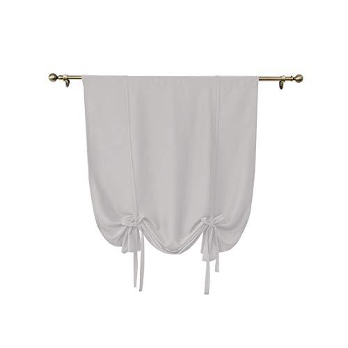 RenHe – Juego de 1 cortina opaca corta y resistente para atar, color liso para ventanas pequeñas, ventanas, dormitorios, cuarto de baño, balcón, decoración beige, S 60 x 120 cm
