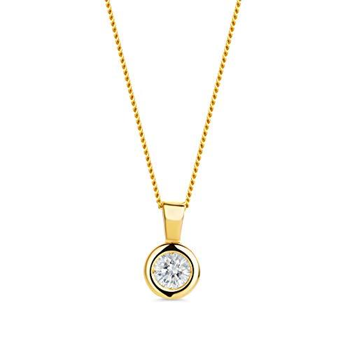 Orovi Damen Kette Gelbgold 0.15 Ct Diamant Halskette mit Anhänger Solitär Diamant Brillant 14 Karat (585) Gold, 45 cm Lang Halkette Handgemacht in Italien