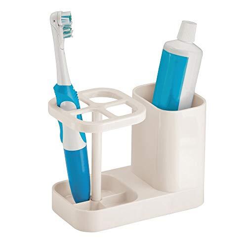 mDesign Soporte para cepillo de dientes – Moderno porta cepillo de dientes con espacio para la pasta de dientes – Accesorios para el baño en plástico para hasta 4 cepillos dentales – crema