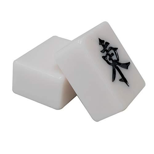 Juegos de Mesa Mahjong Hand Rub Mahjong Marca Casa Acrílico Mahjong Portátil Mahjong For Enviar El Bolso Juegos Tradicionales (Color : Blanco, Size : 3.1 * 4.2cm)
