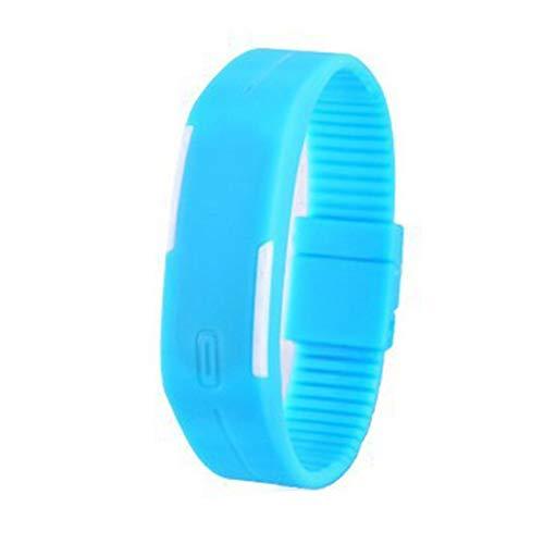 Deanyi Armbanduhr Herren Jungen Mode Unisex Leichtbau Sport Uhr Weiche dünne Silikon Band LED Touch Screen Armbanduhr mit eingebauter Batterie Light Blue