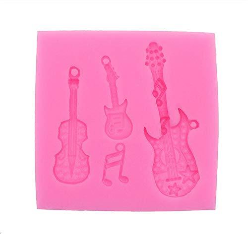 JNML cakevorm DIY handgemaakte keuken bakken Gadgets Notes gitaar elastische schimmel hars klei snoep chocolade bakken bakkerij bakkerij chocolade koekjes, roze