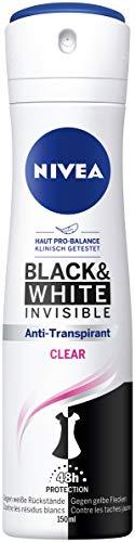 NIVEA Black & White Invisible Deo Spray (150 ml), Antitranspirant gegen Deo-Flecken auf der Kleidung, 48h Deodorant mit antibakteriellem Schutz