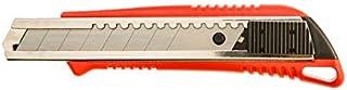 Cutter retractil con freno y refuerzo metalico - hoja del cuchillo de 18 mm - guías de la hoja de metal - con bloqueo - carcasa de plastico