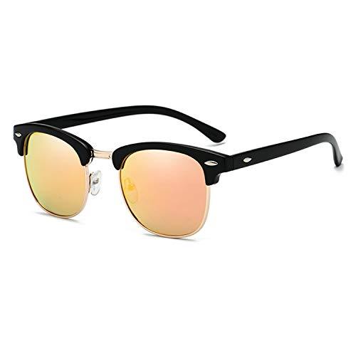 Yidarton Sonnenbrille Damen Herren Klassische Polarisiert Retro Unisex Halbrahmen Sonnenbrille UV400 Sonnenbrille verspiegelt Brillen mit Etui (6-Gelb)