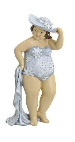 Figur Dame mit Badetuch mollige Frau im Badeanzug Dicke Badenixe Sommerdekofigur Lady Rubens Maritimdekofigur Schwimmerinfigur