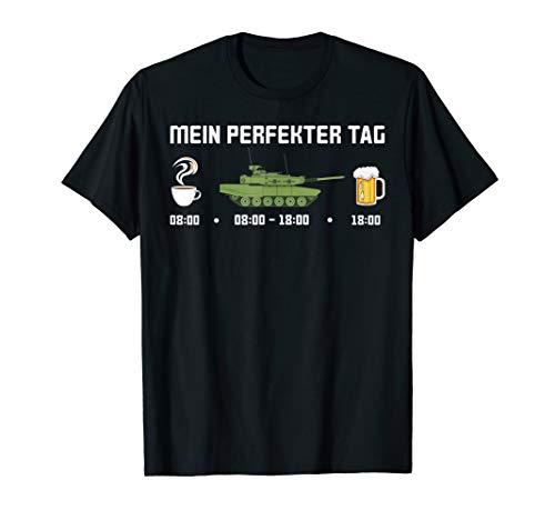 Tagesplan Panzerfahrer Panzer Bier Spruch Soldat Kaffee T-Shirt