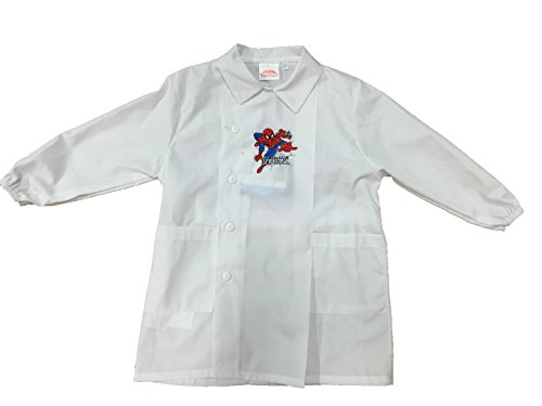 Marvel Grembiule Grembiulino Bianco Spiderman Scuola Asilo Materna elementare (TG.45)