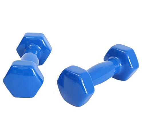 LUSTAR Juego de 2 Mancuernas Hexagonales de Neopreno, Pesas 0.5KG 1KG 1.5KG 2KG 2.5KG 3KG 4KG 5KG Azul, para Sentadillas Aeróbicas y Pilates,Blue-(4KG*2)