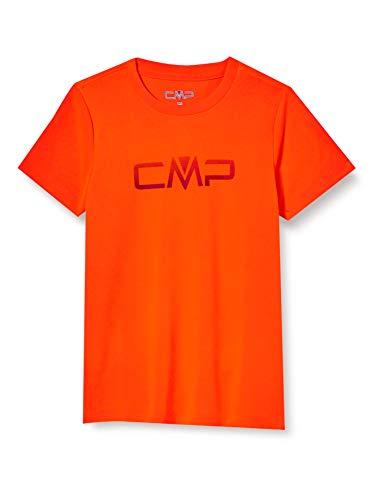 CMP Jungen Atmungsaktives T-Shirt Logo, Flash Orange, 128