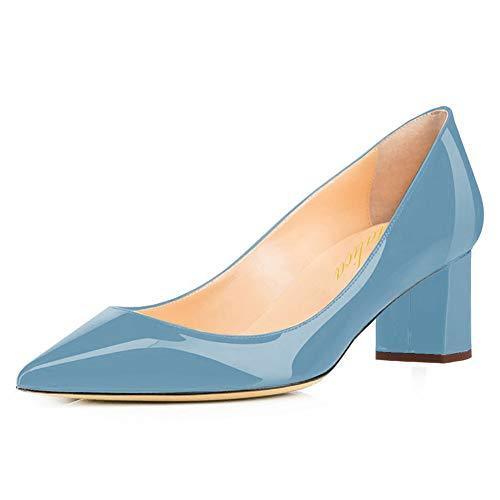 Lutalica Damen Lackleder Spitzschuh Komfort Low Blockabsatz Pumps Schuhe Blau Größe 36
