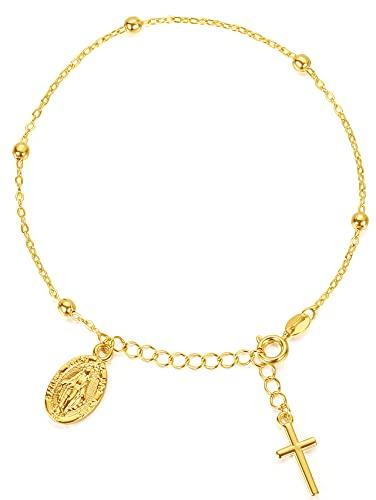 Pulsera de cadena de eslabones cruzados de plata esterlina en oro de 18 quilates para mujeres adolescentes