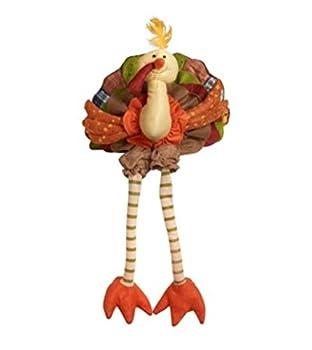 Plush Sitting Turkey with Dangling Legs Centerpiece Sitter 12