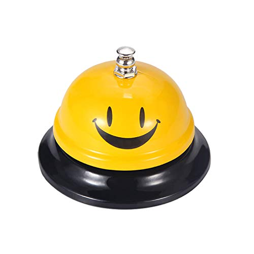 Call Bell 1 Packs 3.35 Inch Diameter with Metal Anti-Rust Construction, Ringing, Durable, Desk Bell Service Bell for Hotels, Schools, Restaurants, Reception Areas, Hospitals, Warehouses(Yellow)