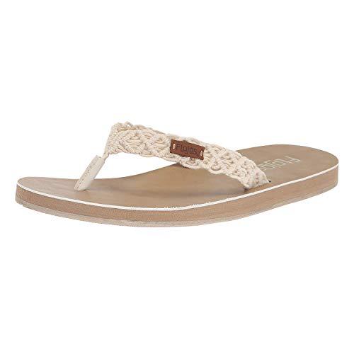 Flojos Women's Aura Flat Sandals, Natural, 10