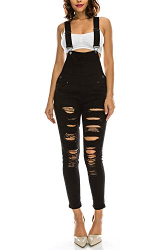 TwiinSisters Women's Fashion Ripped Distressed Stretch Skinny Fit Jumpsuit Denim Overalls for Women