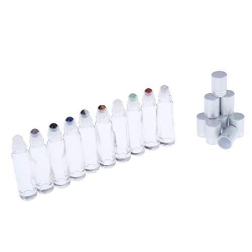 P Prettyia 10 Pcs 10ml Claro Botellas de Rodillos de Piedras Preciosas para Aceites Esenciales Líquidos de Perfume