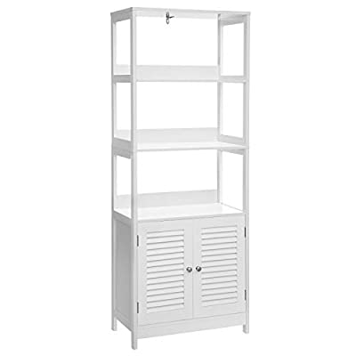 VASAGLE Bathroom Tall Cabinet, Freestanding Linen Tower, Storage Cabinet with 3 Open Shelves and Double Doors, for Living Room, Kitchen, Entryway, 23.6 x 12.8 x 60.6 Inches, Matte White UBBC82WT