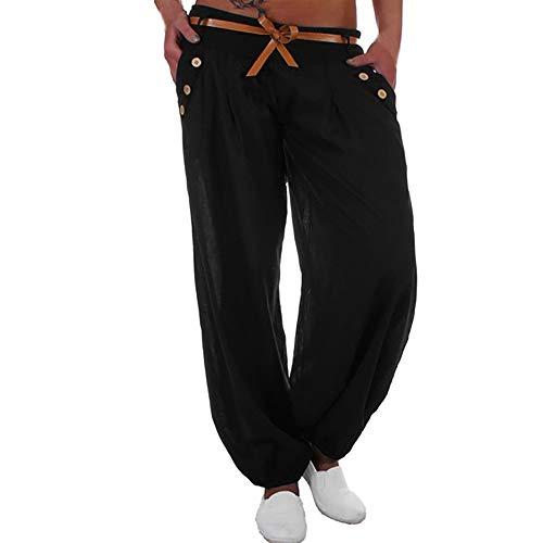 WOZOW Kurze Hosen Damen Harem Solid Low Waist Pants Bettwäsche Baumwolle Lose Bequem Straight Leg Yoga Lang Ankle Pumphose Übergröße (5XL,Schwarz)