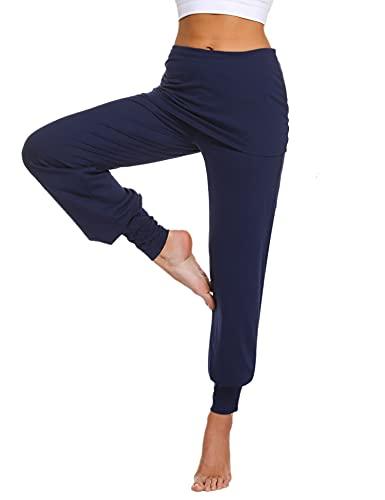 Sykooria Pantalon Sarouel Femmes Pantalon de Yoga Femme Taille Haute Legging Sport Danser Pantalon avec Jupe Court - Bleu Foncé-XL