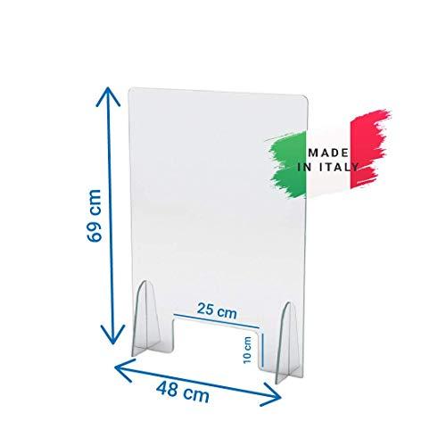 Schutzwand aus Plexiglas 5 mm Geldtrenner für die Sicherheit und den Schutz von Büros, Lebensmittelgeschäften, Tabak und Büromaterial (50x70 cm)