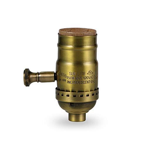 Antique Full Range Dimmer Socket Incandescent Lamp Holder 150 Watt 120 Volt Standard Base (Brass-1Pack)