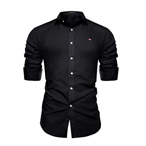 Kuson Herren Business Hemd Slim Fit für Freizeit Hochzeit Reine Farbe Hemden Langarmhemd Schwarz XXL