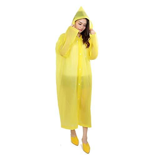 Poncho Sports Raincoats 2-pack EVA-milieubescherming Herbruikbare jas met capuchon Regenhoes Poncho voor heren en dames,Yellow