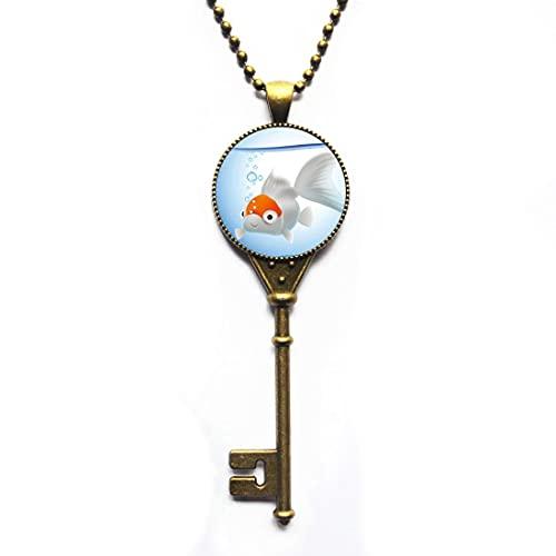 Goldfish Logo Pendant Key Necklace Animal Picture,Fish Jewelry Key Necklace Wearable Art Pendant Charm Goldfish Pendant Charm,PU091