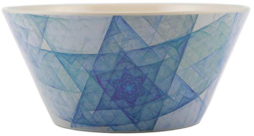 Melange 6 -Piece 100% Melamine Bowls Hanukkah Stars Collection Shatter-Proof and Chip-Resistant|, 10.5', White