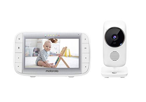 Motorola Baby MBP 485 - Babyphone con Cámara - Pantalla de 5' - Temperatura, Micrófono, Zoom, Nanas - Blanco