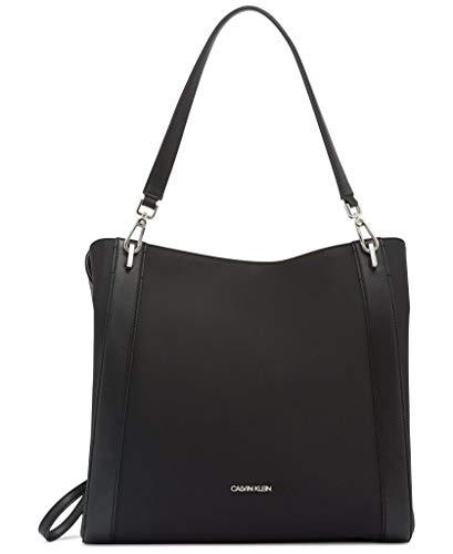 Calvin Klein Women's Ellie Novelty Large Triple Compartment Shoulder Bag, Black/Silver, One Size