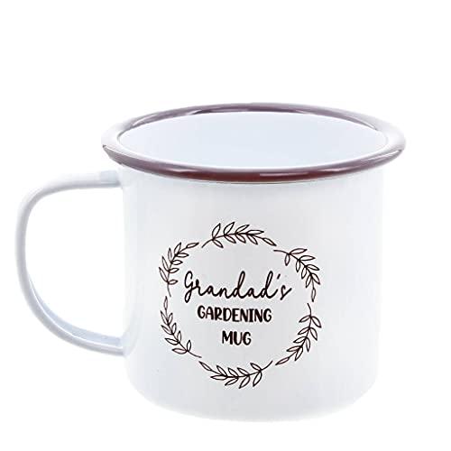 Personalised Gardening Mug, Enamel (Blue Base, Black Trim)