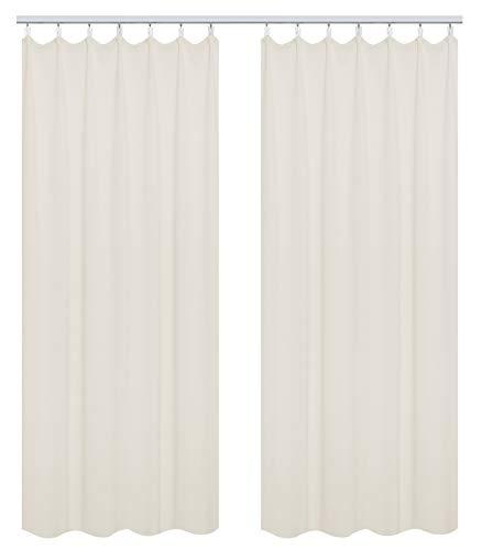 WOLTU #489-2, 2er Set Gardinen Vorhang Blickdicht mit kräuselband für schiene, leichte & weiche Verdunklungsvorhänge für Wohnzimmer Schlafzimmer Tür, 135x225 cm, Crème