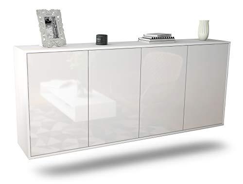 Dekati Sideboard Lakewood hängend (180x77x35cm) Korpus Weiss matt | Front Hochglanz Weiß | Push-to-Open