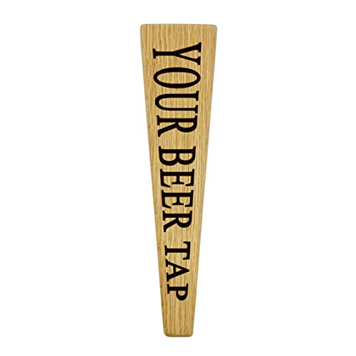 Tapered Beer Tap Handle Oak Wood Custom Engraved with your Personalized Text. Great for Tap Rooms, Bars, Breweries and Home Kegerators