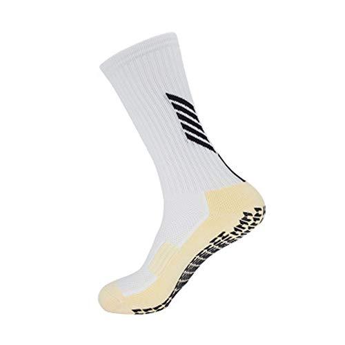 rutschfeste Fußball Socken Basketballsocken/Yoga Socken Noppen Sohle Damen & Herren Socken Anti Rutsch Sportsocken Grip Fußballsocken Tape Fussball Socken (Weiß, Einheitsgröße)