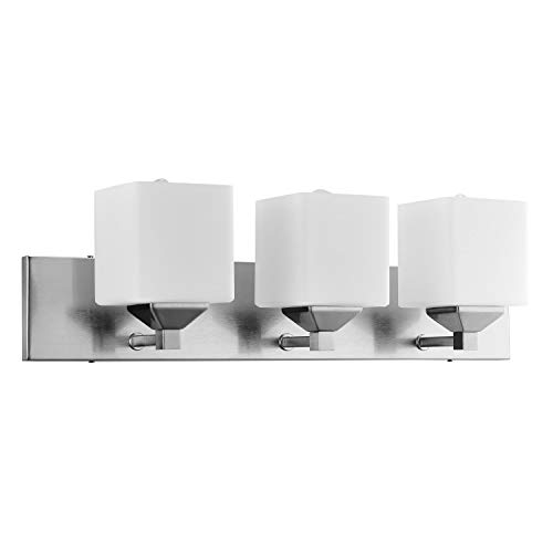 """Sunlite 81324-SU Modern Square Vanity Fixture 6"""" Wall Mount, Medium (E26) Socket, Standard A19 Bulb Required (60W Max), Bathrooms, Powder Rooms, Frosted Glass Shade, 3-Lights, Brushed Nickel Base"""