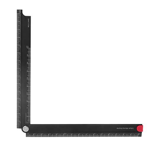 ruiruiNIE Regla Plegable, Regla Plegable de aleación de Aluminio de 15 cm a 30 cm, Regla Simple de papelería de Metal Plegable de 90 °
