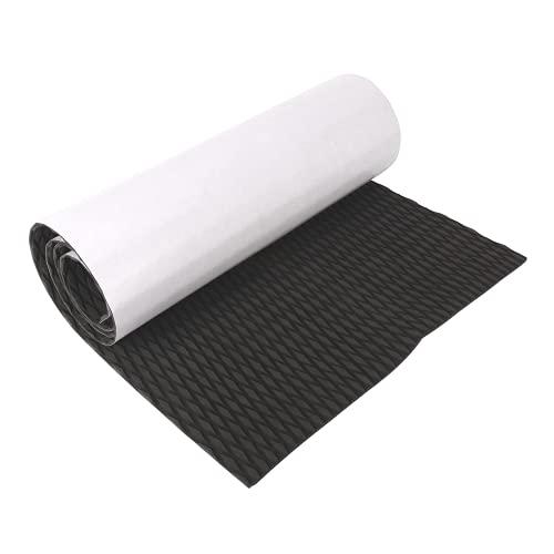 "MYOYAY EVA Foam Boat Decking Sheet 86.6""× 23.6"" Non-Slip Marine Teak Flooring Decking Sheet with Backing Adhesive for Sea Deck Marine Yacht RV Boat Flooring Decking Carpet(Black)"