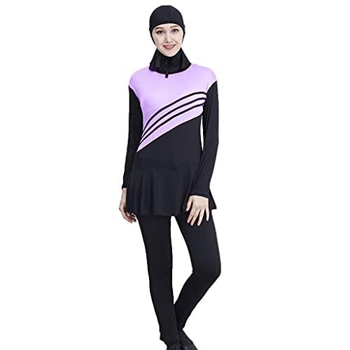 OSELLINE 2021 Bikini Set, Mujeres niñas Tallas Grandes musulmán islámico Modesto Traje de baño Mono de una Pieza Color Block Rayas Traje de baño de Cuello Alto con Hijab púrpura