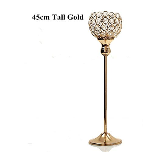 Beautiful and Practical Metal Glass Candle Holdercan Decorative Candle Holders for Weddings, banquets, (Color : 45cm Tall)