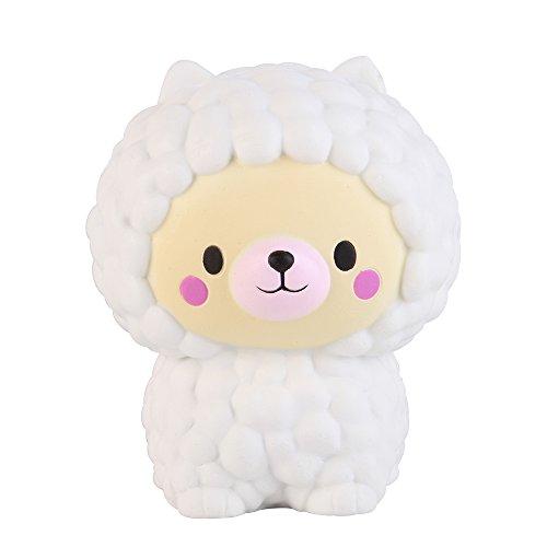 Anboor Squishies Schaf Bär Jumbo Langsam Steigend Quetschen Squeeze Spielzeug Süße Tiere Antistress Squishies Spielzeug Kawaii für Erwachsene Weiß(11*11*13cm, 1 Stück)