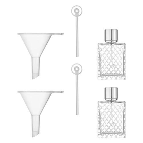 EXCEART Botellas de Perfume de Vidrio con Embudos Dispensador de Perfume de Viaje Botellas de Spray Vacías para Decantar Aceites Esenciales de Aromaterapia de Fragancia 100Ml