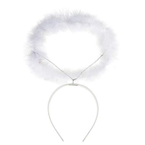 Widmann 8636A – Haarreifen mit Heiligenschein, mit weißem Marabu, Zubehör, Accessoire, Engelskostüm, Teufelskostüm, Weihnachten, Motto Party, Karneval
