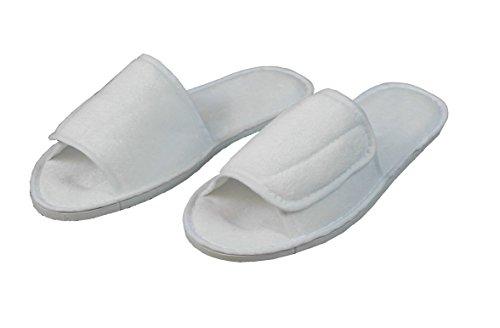 hochwertige Frottee Slipper weiss mit Klettverschluß, Schuhe / Hausschuhe / Pantoletten / Hotelslipper / Badeschuhe, Gr. 36 - 41