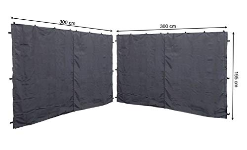 QUICK STAR 2 Side Panels with Zip 300x195cm for Gazebo 3x3m Pavilion Sidewall Anthracite RAL 7012