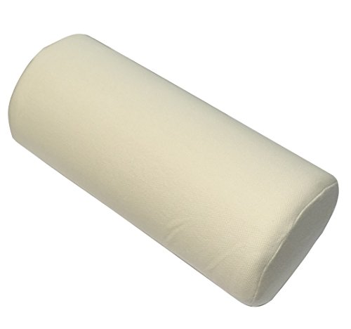 AERZETIX: Cojin reposacabezas para Coche con Espuma de Memoria 27/12cm Color Beige cilindrica C19896